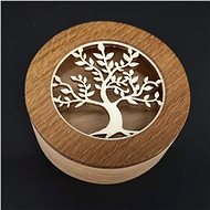 AMADEA Wooden Round Box with Insert - Tree, Solid Wood, 8x3cm - Box