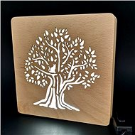 AMADEA Wooden lamp with a tree motif, size 20 cm, with LED lighting with a 12V transformer - Lamp