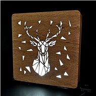AMADEA Wooden lamp with a deer motif, size 20 cm, with LED lighting with a 12V transformer