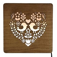 AMADEA Wooden Lamp with Heart Motif, size 20cm, with LED Lighting with 12V Transformer - Lamp