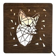 AMADEA Wooden Lamp with Fox Head Motif, size 20cm, with LED Lighting with 12V Transformer - Lamp