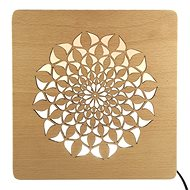 AMADEA Wooden Lamp with Mandala Motif, size 20cm, with LED Lighting with 12V Transformer