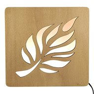 AMADEA Wooden Lamp with Leaf Motif, size 20cm, with LED Lighting with 12V Transformer - Lamp