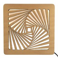 AMADEA Wooden Lamp with a Spiral Motif, size 20cm, with LED Lighting with a 12V Transformer - Lamp
