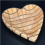 AMADEA Wooden Bowl Mosaic in the Shape of a Heart, Solid Wood, 3 Types of Wood, 25x25x4,5cm - Bowl