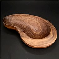 AMADEA Wooden Bowl in the Shape of a Kidney, Solid American Walnut Wood, 26x16.5x4.5cm - Bowl