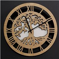 AMADEA Wooden Round Wall Clock, Tree Motif with Roots, Solid Wood, Diameter of 29cm - Wall Clock