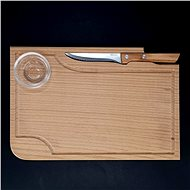 AMADEA Wooden Steak Board with Knife and Bowl, Solid Wood, 30x20x1,5cm - Cutting board