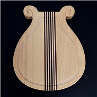AMADEA Wooden Board with a Groove, in the Shape of a Lyre, Solid Wood, 20x18x2cm - Cutting board