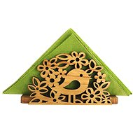 AMADEA Wooden Napkin Holder with a Bird motif, Solid Wood, 12.5x6.5x3.5cm - Stand