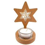 AMADEA Wooden Candlestick Star with Insert - Ornament, Solid Wood, Height 10cm - Candlestick