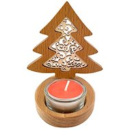 AMADEA Wooden Candlestick Tree with Insert - Ornament, Solid Wood, Height 10cm - Candlestick