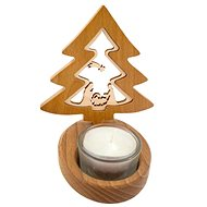 AMADEA Solid Wood Candlestick with Insert - Bell with Nativity Scene 10cm - Candlestick