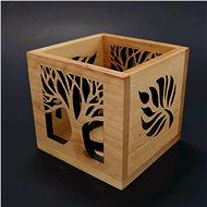 AMADEA Wooden Candlestick Block with Leaf and Tree Motif, Solid Wood, 10x10x10cm - Candlestick