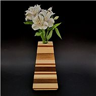 AMADEA Wooden Triangular Vase with Horizontal Stripes, Solid Wood of Four Tree Species, Height 23cm - Vase