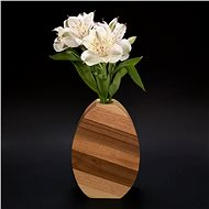 AMADEA Round Wooden Vase with Oblique Stripes, Solid Wood of Four Tree Species, Height of 18cm - Vase