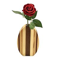 AMADEA Round Wooden Vase with Stripes, Solid Wood of Two Types of Wood, 18x12x4cm - Vase