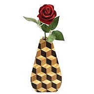 AMADEA Wooden Vase Mosaic, Solid Wood - Joint made of Three Wood Species, Height of 23cm - Vase