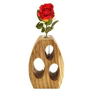 AMADEA Wooden Round Vase with Holes, Solid Wood, Height 12cm - Vase