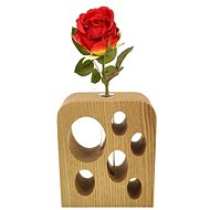 AMADEA Rectangular Wooden Vase with Holes, Solid Wood, Height of 12cm - Vase