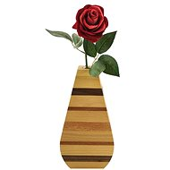 AMADEA Wooden Vase with Horizontal Stripes, Solid Wood of Four Tree Species, Height of 23cm - Vase