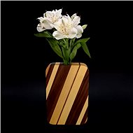 AMADEA Rectangular Wooden Vase with Oblique Stripes, Solid Wood of Four Tree Species, Height 18cm - Vase