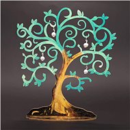 AMADEA Wooden 3D Green Tree with White Ornaments, Height of 20cm - Christmas decorations