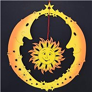 AMADEA Wooden Ornament Two Moons with the Sun, Coloured, for Hanging, Height of 20cm - Christmas decorations