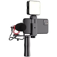 Apexel Video Rig With Microphone and LED Light - Mobile Phone Holder