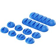 AlzaPower Cable Clips Mix, 10pcs, Blue - Cable Organiser