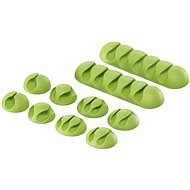 AlzaPower Cable Clips Mix, 10pcs, Green - Cable Organiser
