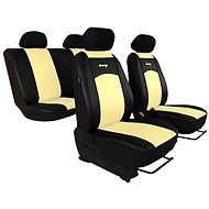 SIXTOL leather seat covers black-white - Car Seat Covers