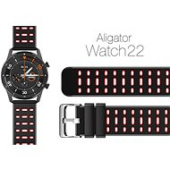 Aligator Watch 22mm Silicone Strap, Dual Red
