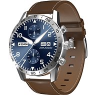 ARMODD Silentwatch 4 Pro, Silver with Brown Leather Strap + Silicone Strap - Smartwatch
