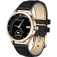 ARMODD Candywatch Crystal 2, Gold with Black Leather Strap - Smartwatch