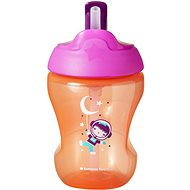 Tommee Tippee Straw Cup Non-flowing Mug with Straw 7m + Pink, 230ml - Baby cup
