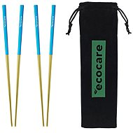 ECOCARE Metal Sushi Chopsticks with Gold-Blue Packaging 4 pcs - Cutlery Set