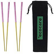 ECOCARE Metal Sushi Chopsticks with Gold-Pink Packaging 4 pcs