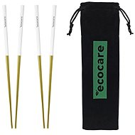 ECOCARE Metal Sushi Chopsticks with Gold-White Packaging 4 pcs