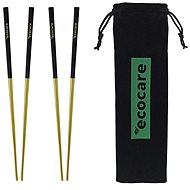ECOCARE Metal Sushi Chopsticks with Gold-Black Packaging 4 pcs