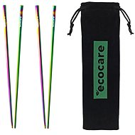 ECOCARE Metal Sushi Chopsticks with Rainbow Cover 4 pcs - Cutlery Set