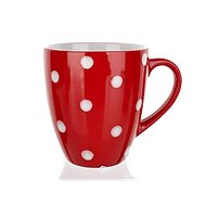 BANQUET Set of Ceramic Mugs, 400ml Flask, Red with Polka Dots, 6 pcs