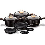 Berlinger Haus 10-Piece Marble Coated Non-Stick Cookware Set - Black Rose Gold Collection BH-1645N - Pot Set