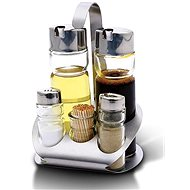 Blaumann Stainless steel/ Glass Condiments Set 6pc - Condiments tray