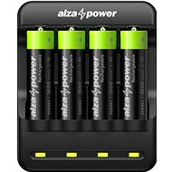 AlzaPower USB Battery Charger AP410B + Rechargeable HR6 (AA) 2500 mAh 4pcs - Battery Charger