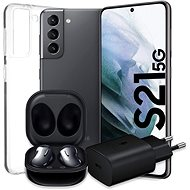 Samsung Galaxy S21 5G 128GB Grey + Galaxy Buds Live Black + 25W Adapter + Transparent Cover - Mobile Phone
