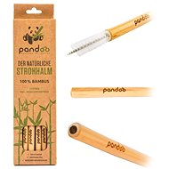 PANDOO Long Bamboo Straw with Cleaning Brush Set of 12 Pcs - Straw