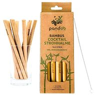PANDOO Short Cocktail Bamboo Straw with Cleaning Brush Set of 12 Pcs - Straw