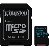Kingston Canvas Go! MicroSDXC 64GB UHS-I U3 + SD Adapter