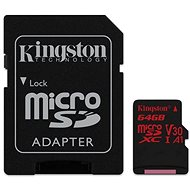 Kingston Canvas React MicroSDXC 64GB A1 UHS-I V30 + SD Adapter - Memory Card